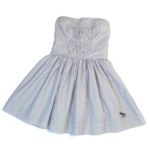 Abercrombie Strapless Smocked Blue Pinstripe Dress